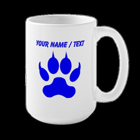 Custom Blue Wolf Paw Print Mugs