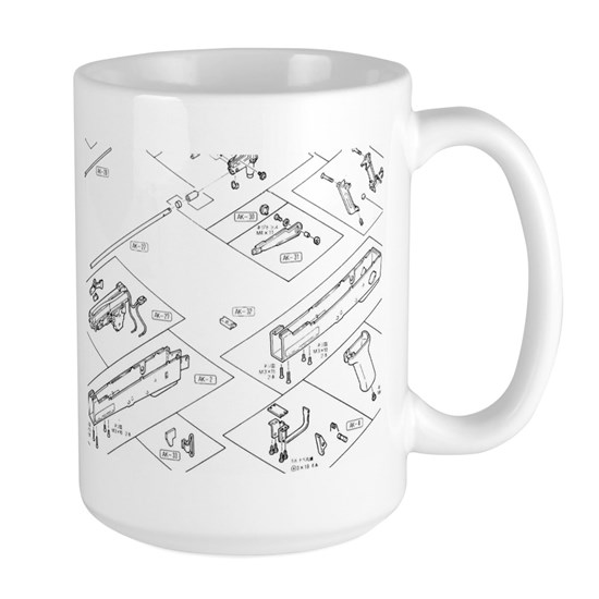 AK 47 Schematic Large 15 oz Ceramic Large Mug Ak Schematic on