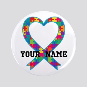 Autism Ribbon Heart Personalized Button