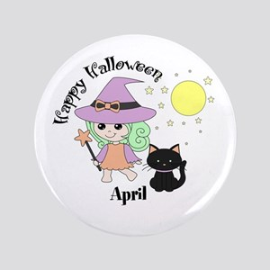 "Custom name Halloween witch 3.5"" Button"