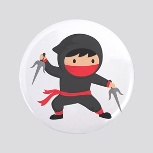 Cute Ninja with Sai for Kids Button