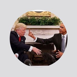 barack obama giving donald trump the middle Button