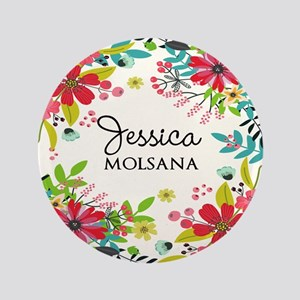 Painted Floral Personalized Monogram Button