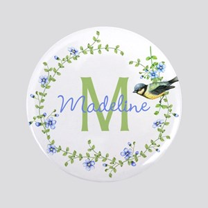 Bird Floral Wreath Monogram Button
