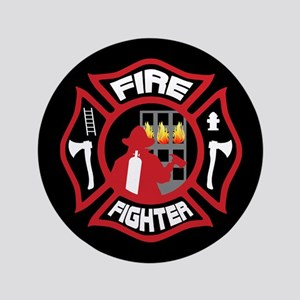 Modern Firefighter Badge Button
