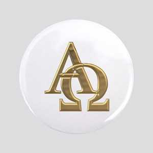 """3-D"" Golden Alpha and Omega Symbol 3.5"" Button"