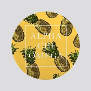 "Alpha Chi Omega Pineapples FB 3.5"" Button"