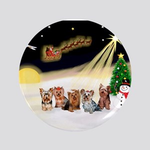 "Night Flight/5 Yorkies 3.5"" Button"