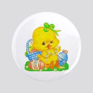 Vintage Cute Easter Duckling And Easter Egg Button