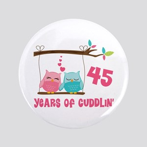 "45th Anniversary Owl Couple 3.5"" Button"