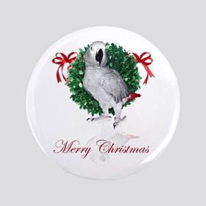 """african grey christmas 3.5"""" Button"""