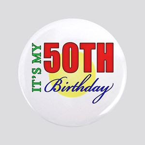 """50th Birthday Party 3.5"""" Button"""