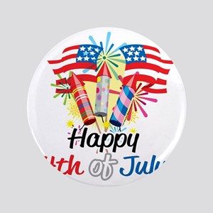 """Happy-4th-Fireworks 3.5"""" Button"""