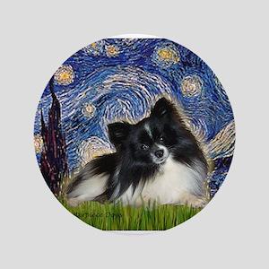 """Starry Night / Pomeranian (b&w) 3.5"""" Button"""