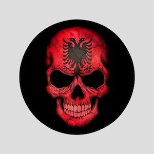 """Albanian Flag Skull on Black 3.5"""" Button"""