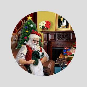 """Santa's English Springer 3.5"""" Button"""