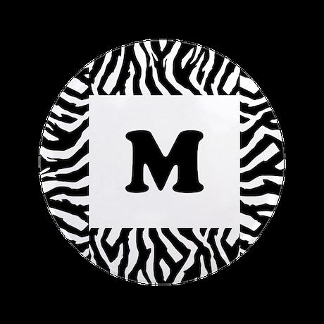 """Zebra Print. Custom Letter. 3.5"""" Button"""