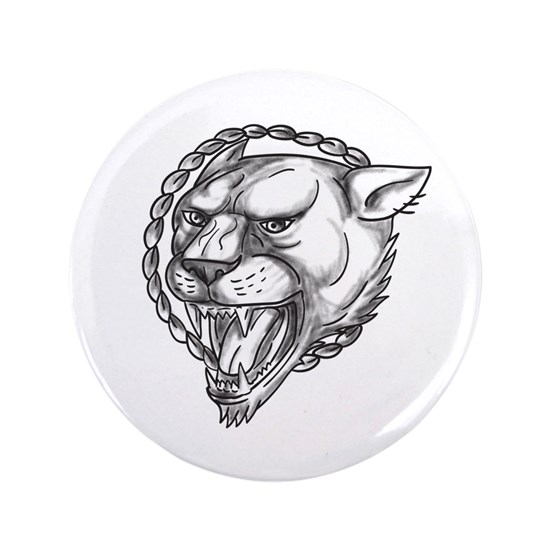 Lioness Growling Rope Circle Tattoo