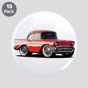 "BabyAmericanMuscleCar_57BelR_Xmas_Red 3.5"" Button"