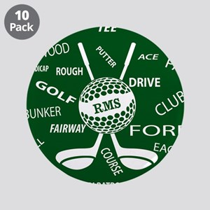 """Personalized Monogram Golf Gifts 3.5"""" Button (10 p"""
