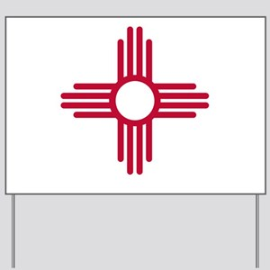 Red Zia NM State Flag Desgin Yard Sign