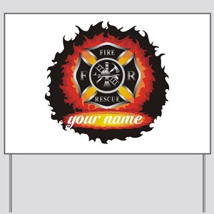Personalized Fire and Rescue Yard Sign