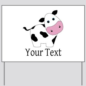 Personalizable Black and White Cow Yard Sign