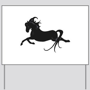 Black Leaping Pony Yard Sign