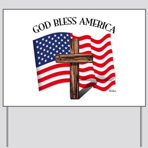 God Bless American With US Flag and Rugg Yard Sign