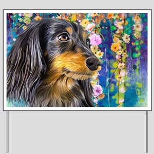 Dachshund Painting Yard Sign