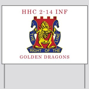 HHC 2-14 INF - Golden Dragons Yard Sign