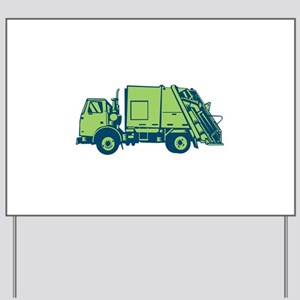 Garbage Truck Rear End Loader Side Woodcut Yard Si