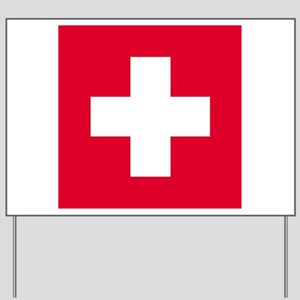 First Aid - Red Background - Yard Sign