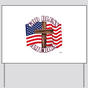 God Bless America With USA Flag and Cross Yard Sig