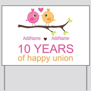 10th Anniversary Personalized Yard Sign