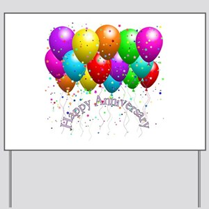 Happy Anniversary Balloons Yard Sign