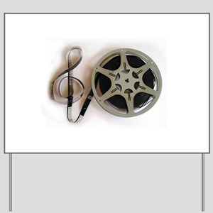 Clef and Film Reel by Leslie Harlow Yard Sign