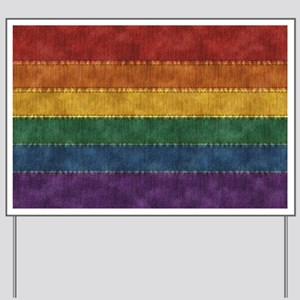 Rainbow Denim Flag Yard Sign