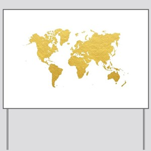 Gold World Map Yard Sign