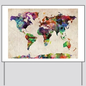 World Map Urban Watercolor 14x10 Yard Sign