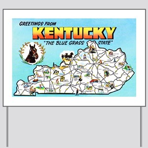 Kentucky Map Greetings Yard Sign