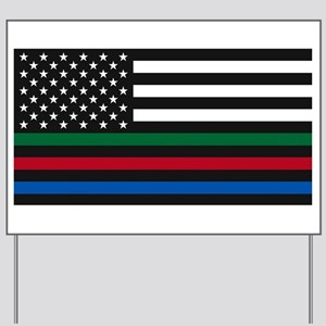 Thin Blue Line Decal - USA Flag - Red, B Yard Sign