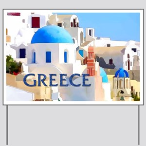 Blinding White Buildings in Greece Yard Sign