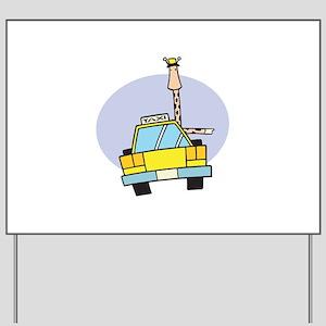 Cartoon Taxi Cab Luggage Tag903285889 Yard Signs - CafePress