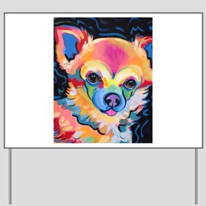 Neon Pomeranian or Chihuahua Portrait Yard Sign