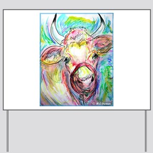 Cow! Colorful, art! Yard Sign