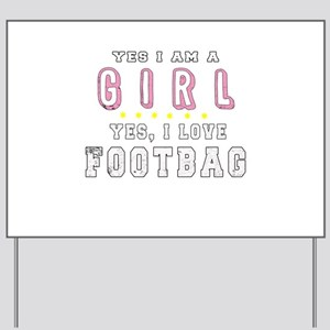 Hacky Sack Footbag Freestyle Girl Sport Yard Sign