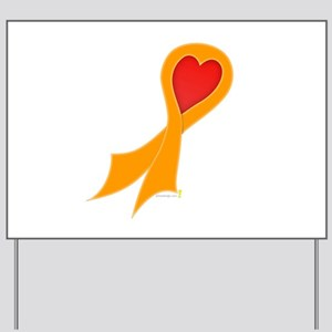 Orange Ribbon with Heart Yard Sign