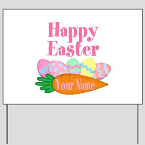 Happy Easter Carrot and Eggs Yard Sign