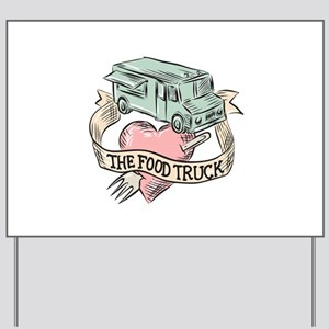 Food Truck Heart Fork Etching Yard Sign